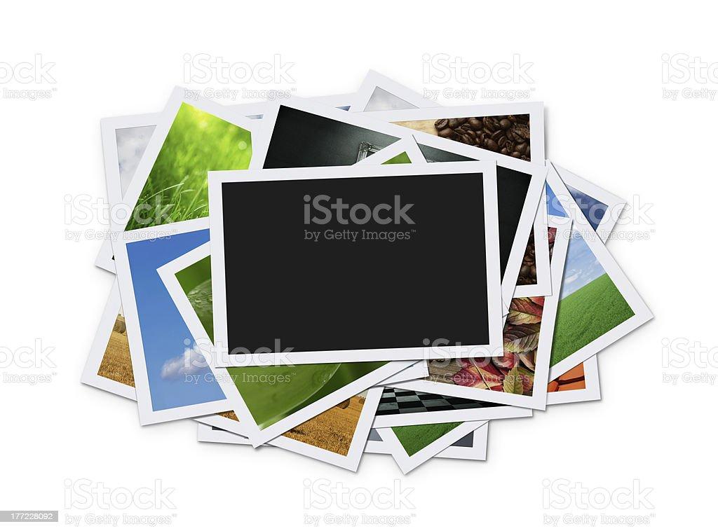Stapel von instant Fotos und clipping path – Foto