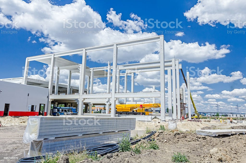 Stack of insulation composite panel walls are piled on building stock photo