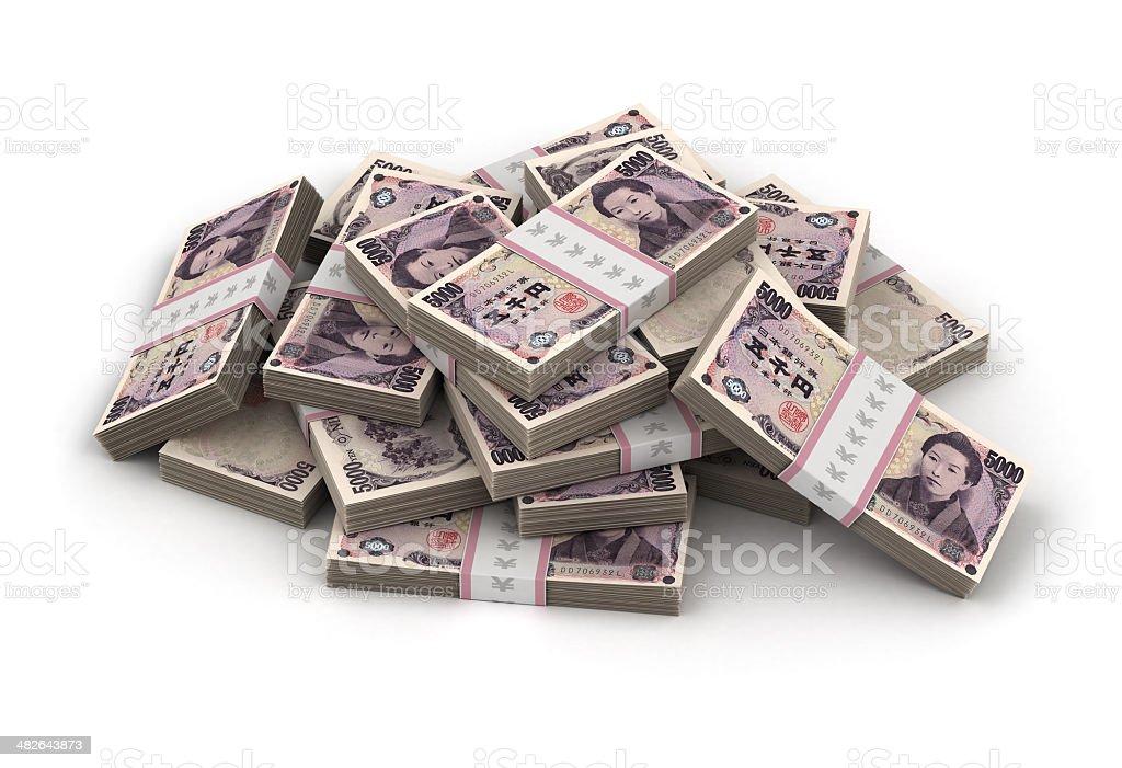 Stack of Japanese Yen stock photo