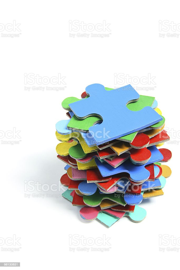Stack of Jigsaw Puzzle Pieces royalty-free stock photo