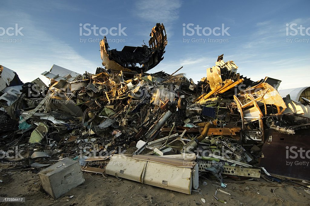 Stack of Junk at an Airplane Graveyard royalty-free stock photo