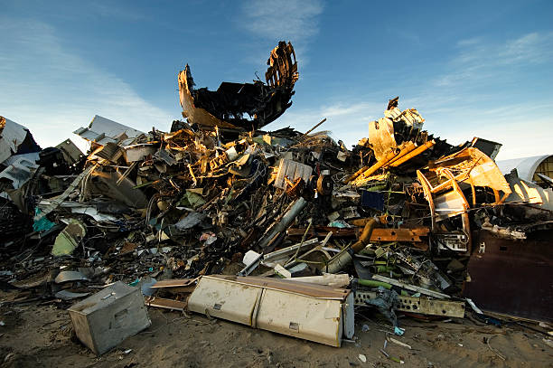 Stack of Junk at an Airplane Graveyard stock photo
