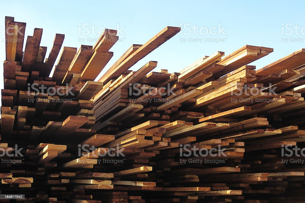 Stack of Just Milled Redwood Lumber royalty-free stock photo