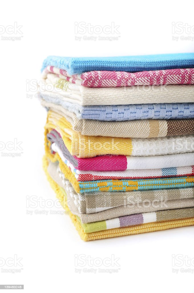 Stack of kitchen towels royalty-free stock photo
