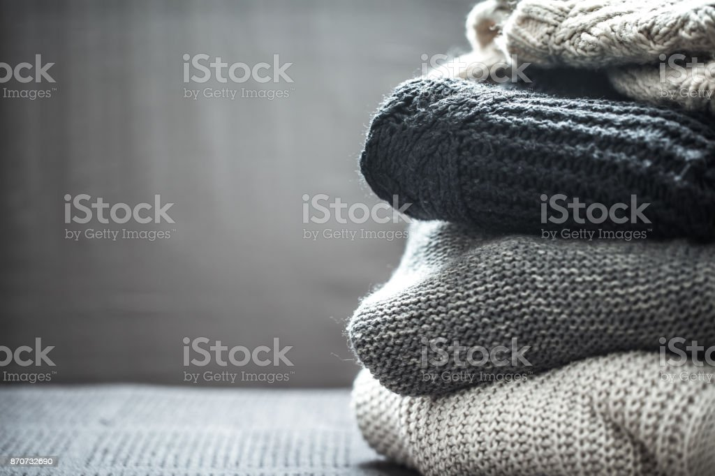 A stack of knitted sweaters royalty-free stock photo