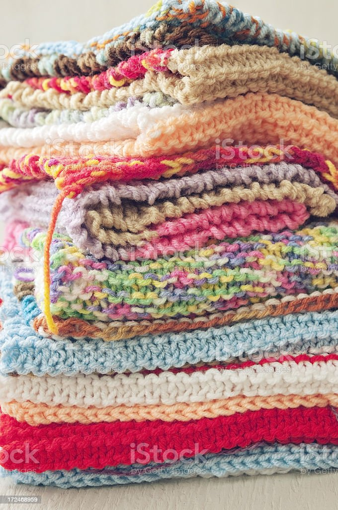Stack of Knitted Wool royalty-free stock photo