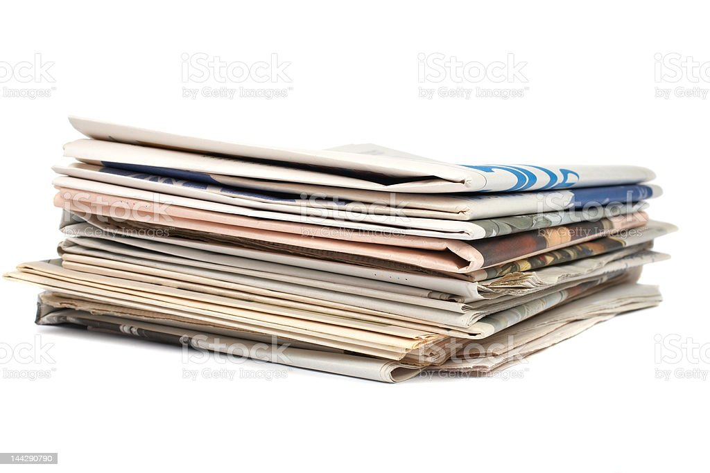 Stack of local newspapers royalty-free stock photo