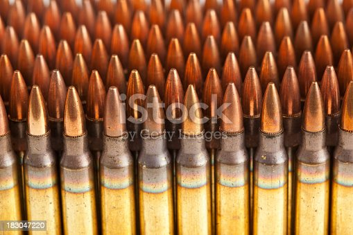 istock Stack of M16 bullets. 183047220