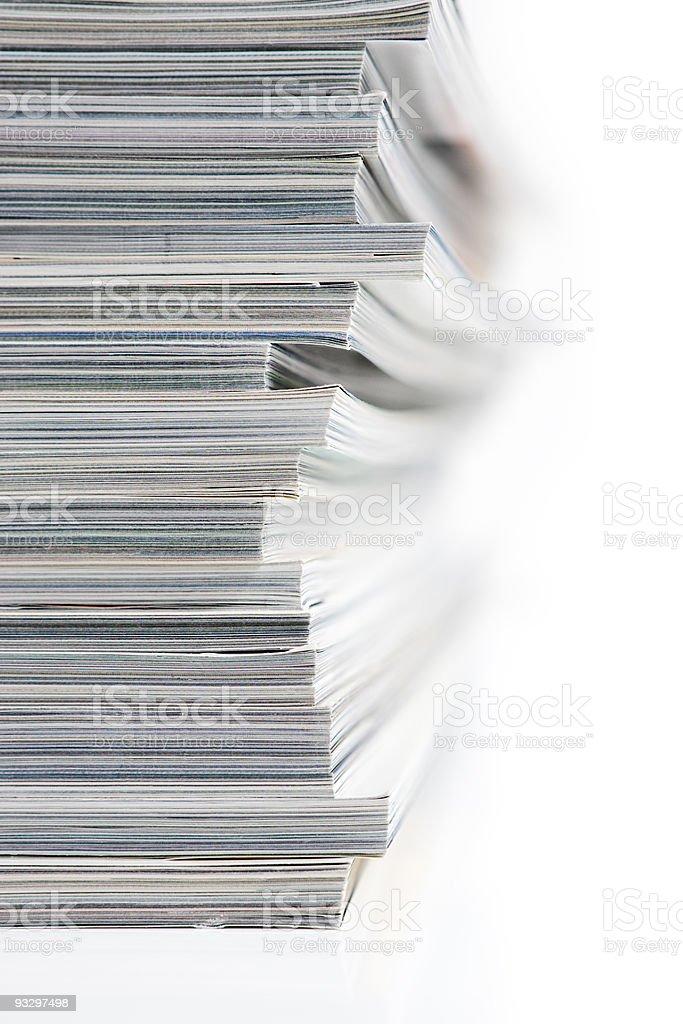 Stack of Magazines on White Background royalty-free stock photo