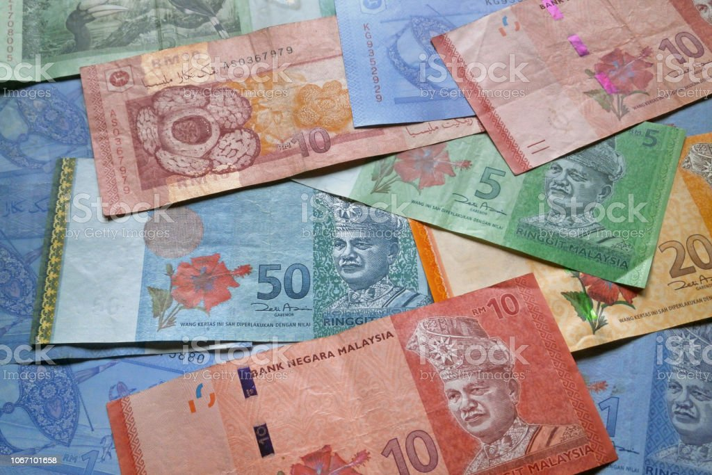 Stack Of Malaysian Ringgit Banknotes Stock Photo - Download Image