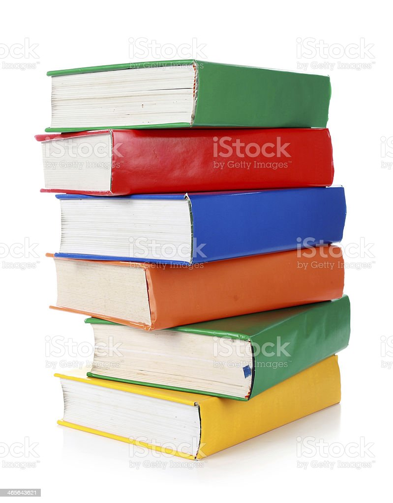 Stack of many colorful books royalty-free stock photo