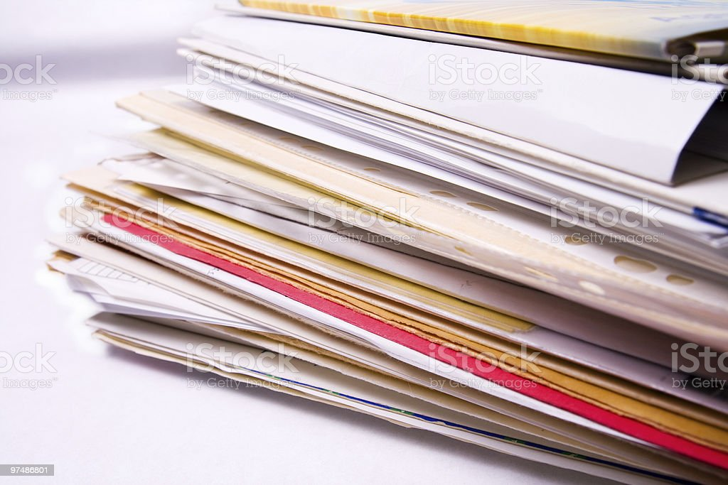 Stack of messy document folders royalty-free stock photo