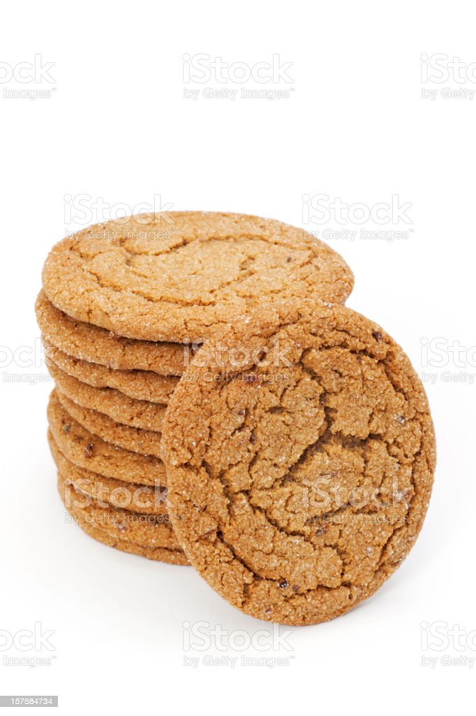 stack of molasses cookies stock photo
