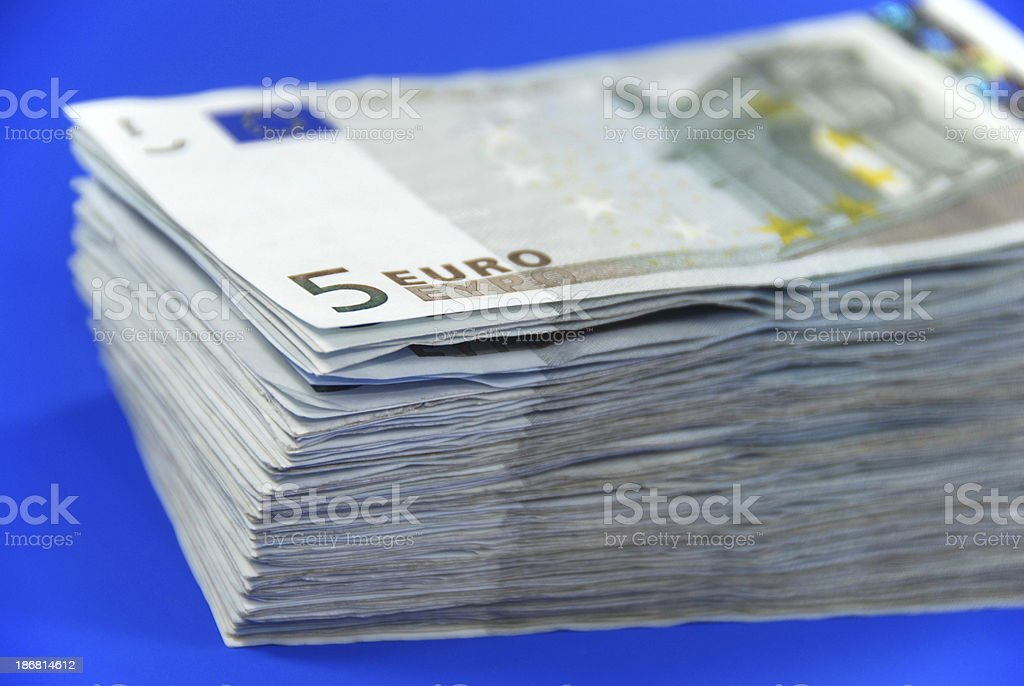Stack of money - Five Euro Banknotes stock photo