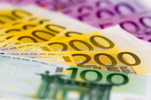 Stack Of Money With 100 Focused 200 And 500 Euro Stock Photo - Download Image Now