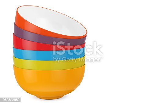 Stack of Multicolor Ceramic Bowls on a white background. 3d Rendering
