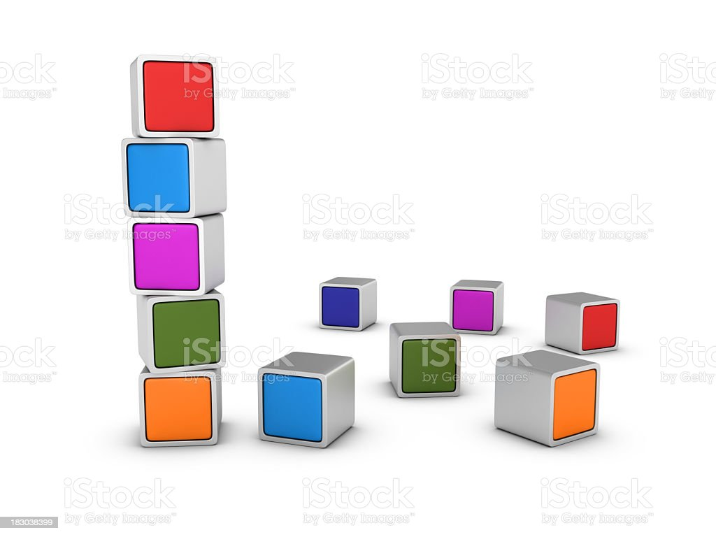 Stack of Multicolored Blocks royalty-free stock photo