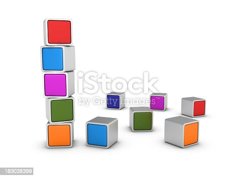 Stack of Multicolored Blocks.