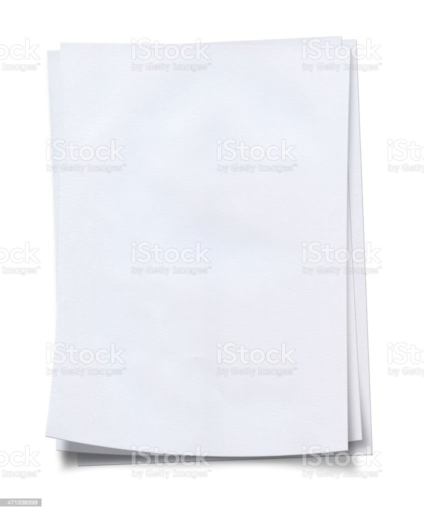 Stack of neat, fresh, blank white paper stock photo