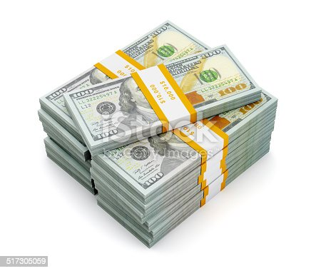 istock Stack of new 100 US dollars 2013 edition banknotes 517305059