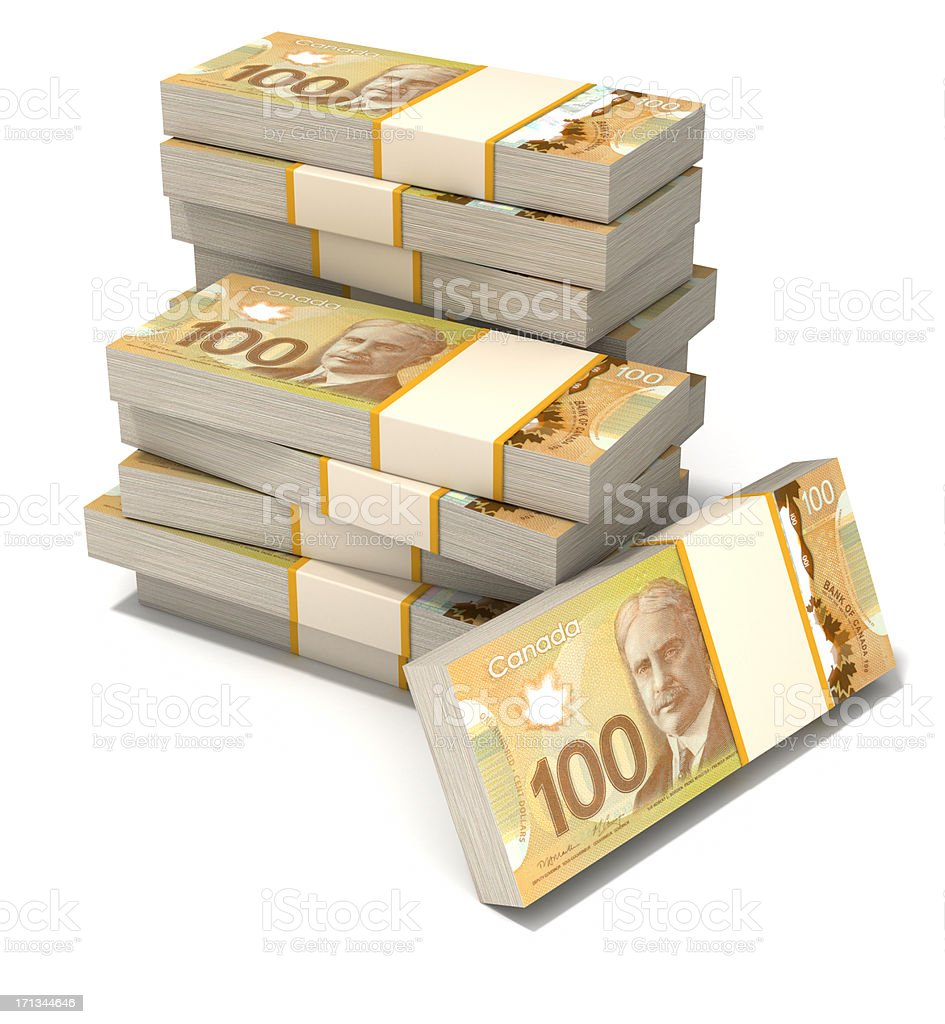 Stack of new Canadian dollar bills. royalty-free stock photo