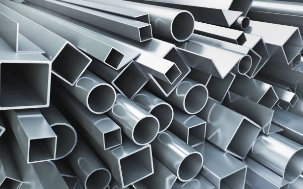 stack of new pipes and profiles. 3d rendering - construction material stock photos and pictures
