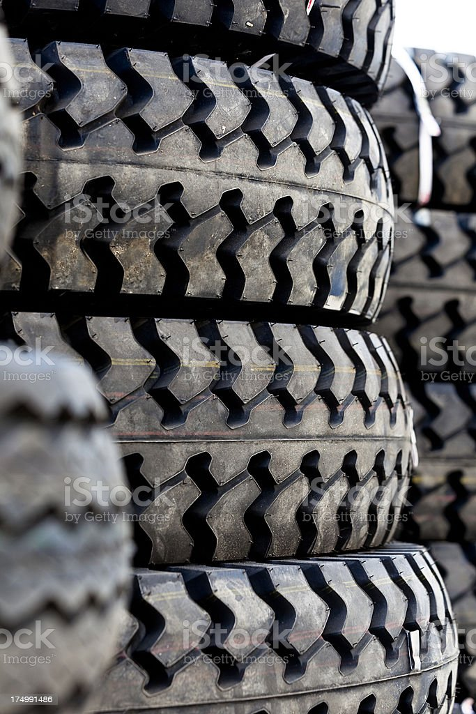 Stack of new truck tyres royalty-free stock photo
