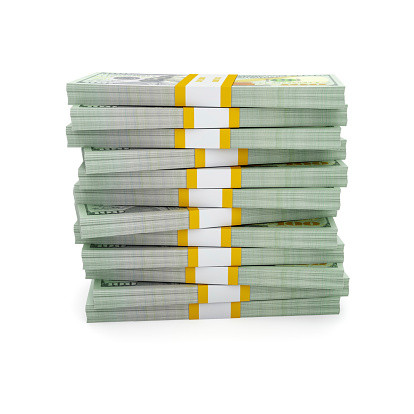 Creative business finance making money concept - stack of new 100 US dollars 2013 edition banknotes bills bundle isolated on white background