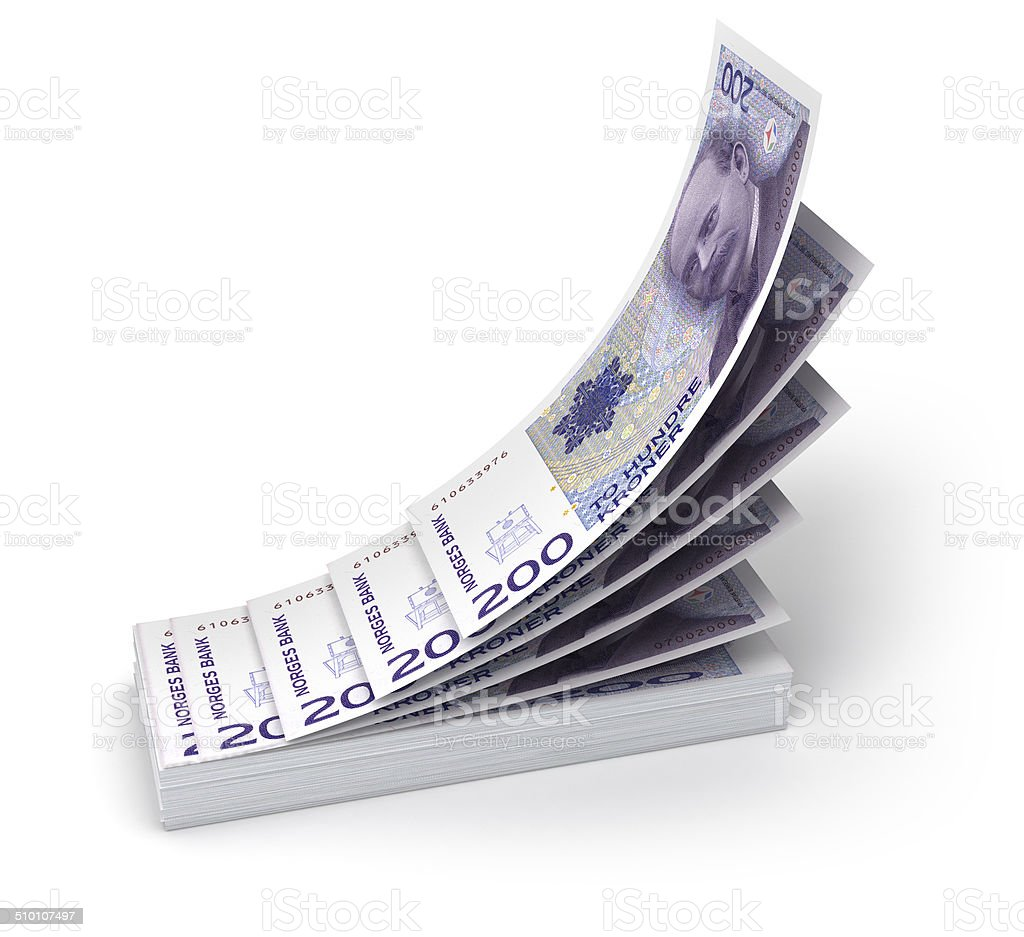 Stack of Norwegian krone bills stock photo