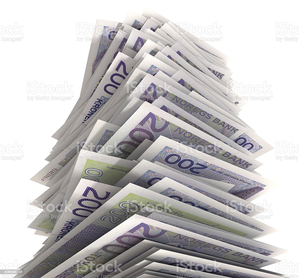 Stack of Norwegian krones stock photo