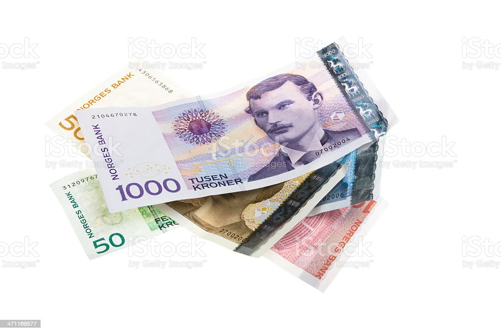 Stack of Norwegian money stock photo