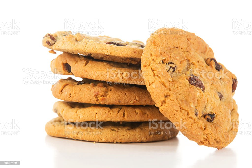 Stack of Oatmeal Raisin Cookies stock photo