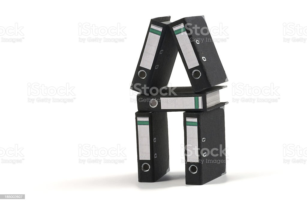 stack of office folders - ring binders stock photo