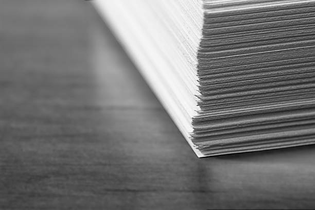 stack of office papers - black and white - stack rock stock pictures, royalty-free photos & images