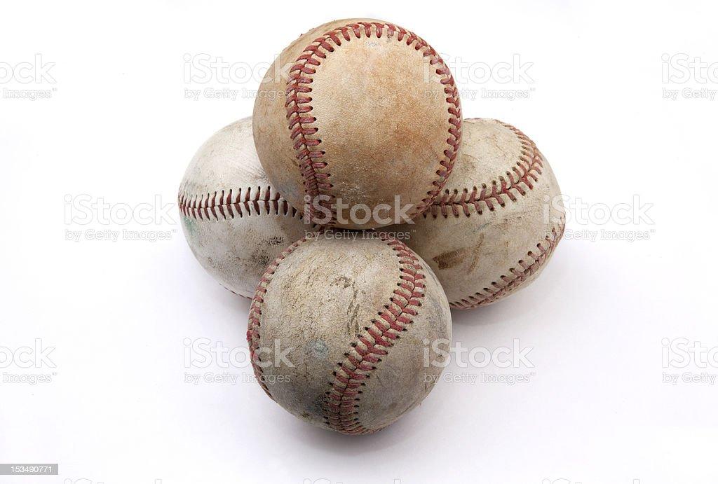 Stack of Old Baseballs royalty-free stock photo