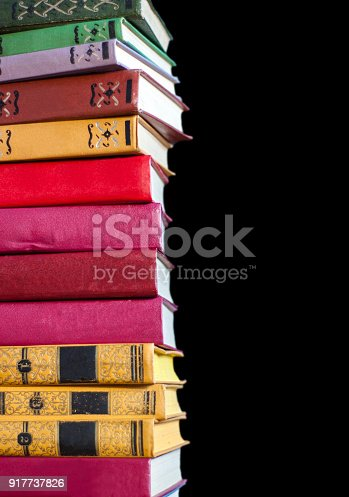 696860774 istock photo A stack of old books on a black background 917737826