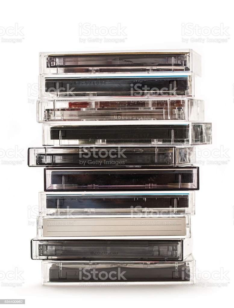 Stack of old cassettes stock photo