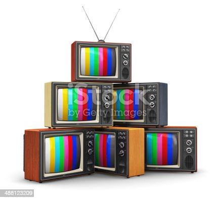 istock Stack of old color TV 488123209