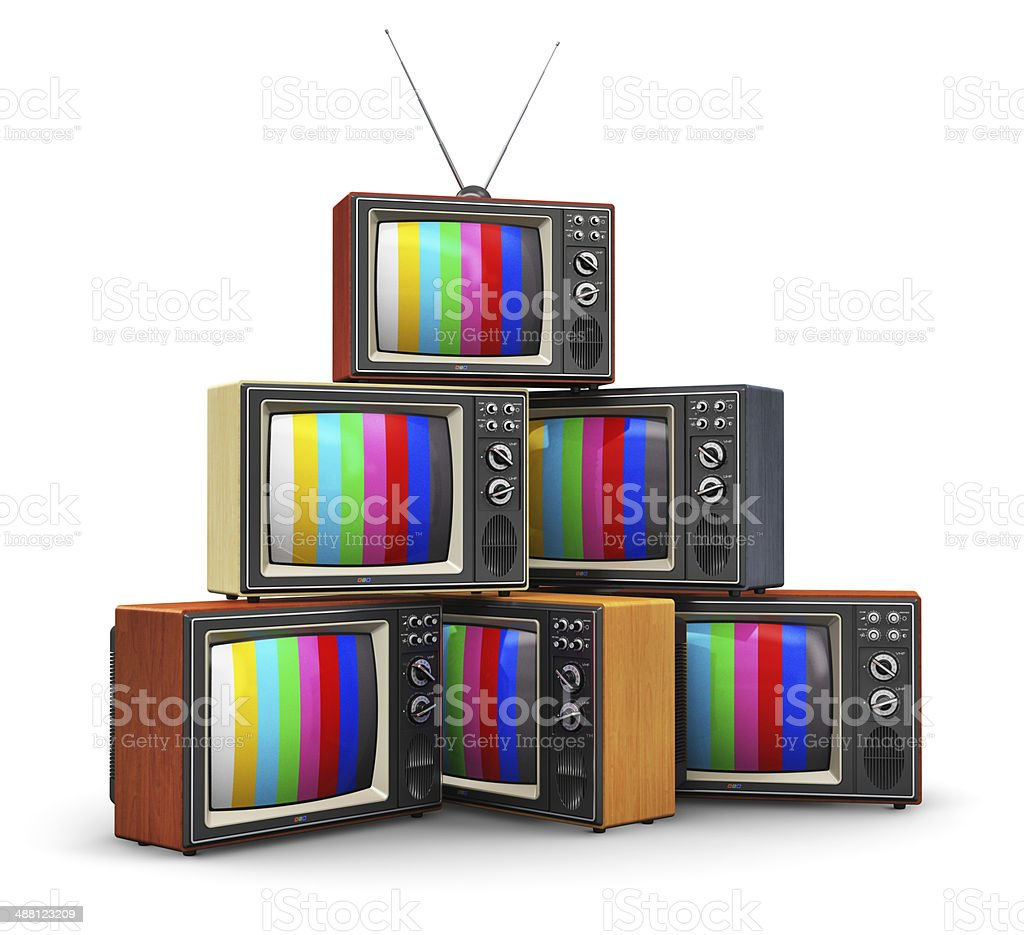 Stack of old color TV stock photo