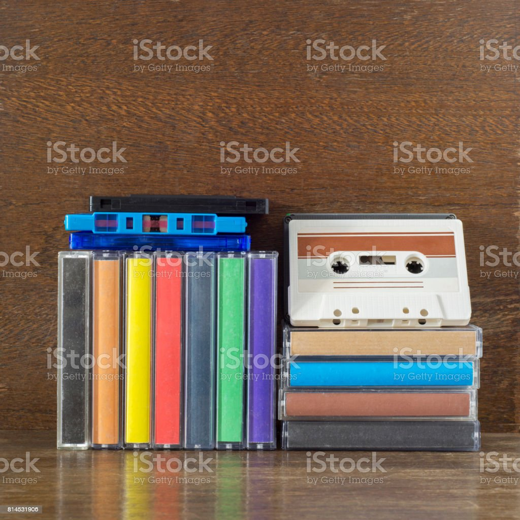 Stack of old colorful audio cassettes stock photo
