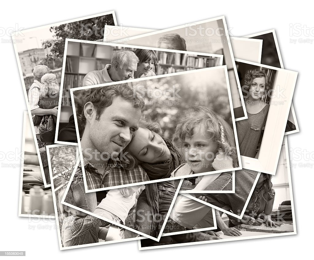 stack of old family photographs royalty-free stock photo