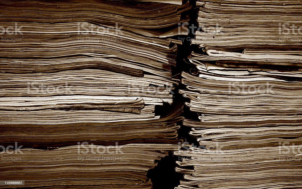 Stack of old magazines royalty-free stock photo