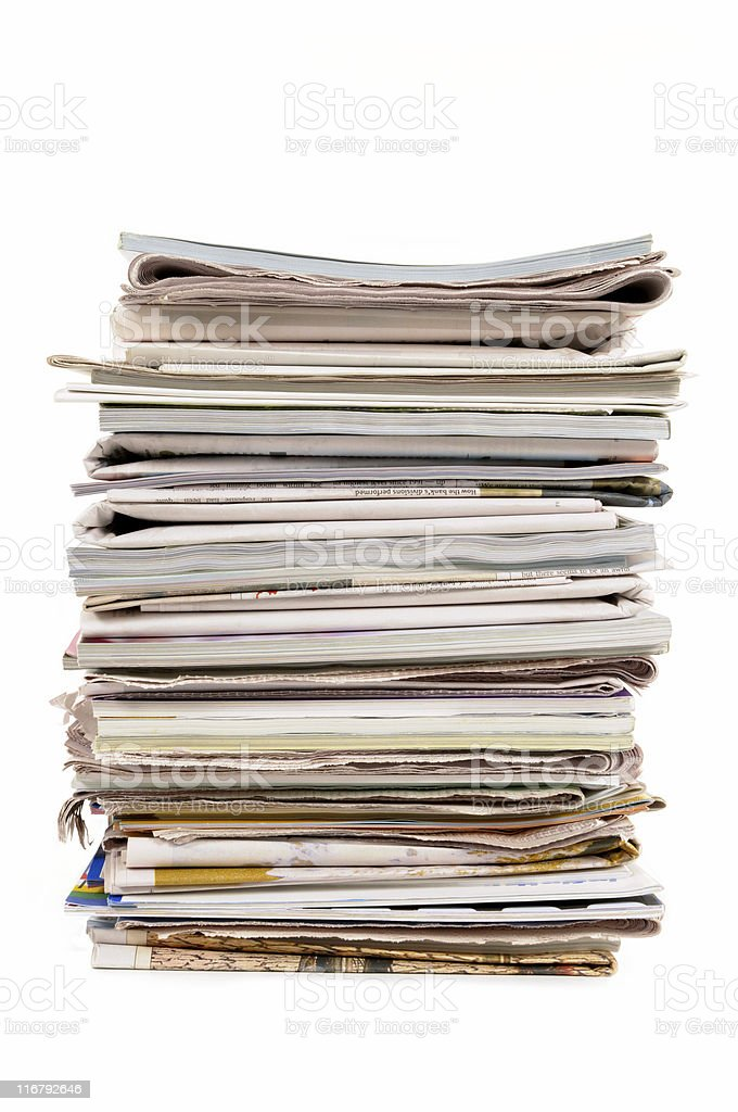Stack of old newspapers and magazines royalty-free stock photo