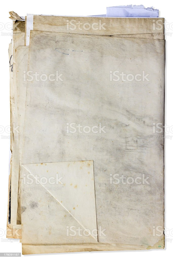 Stack of old paper document royalty-free stock photo