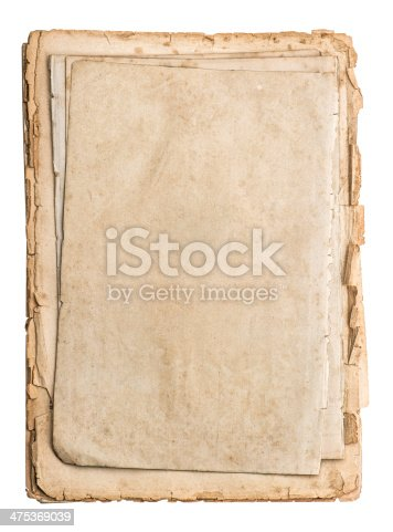 1129542015 istock photo stack of old papers isolated on white 475369039