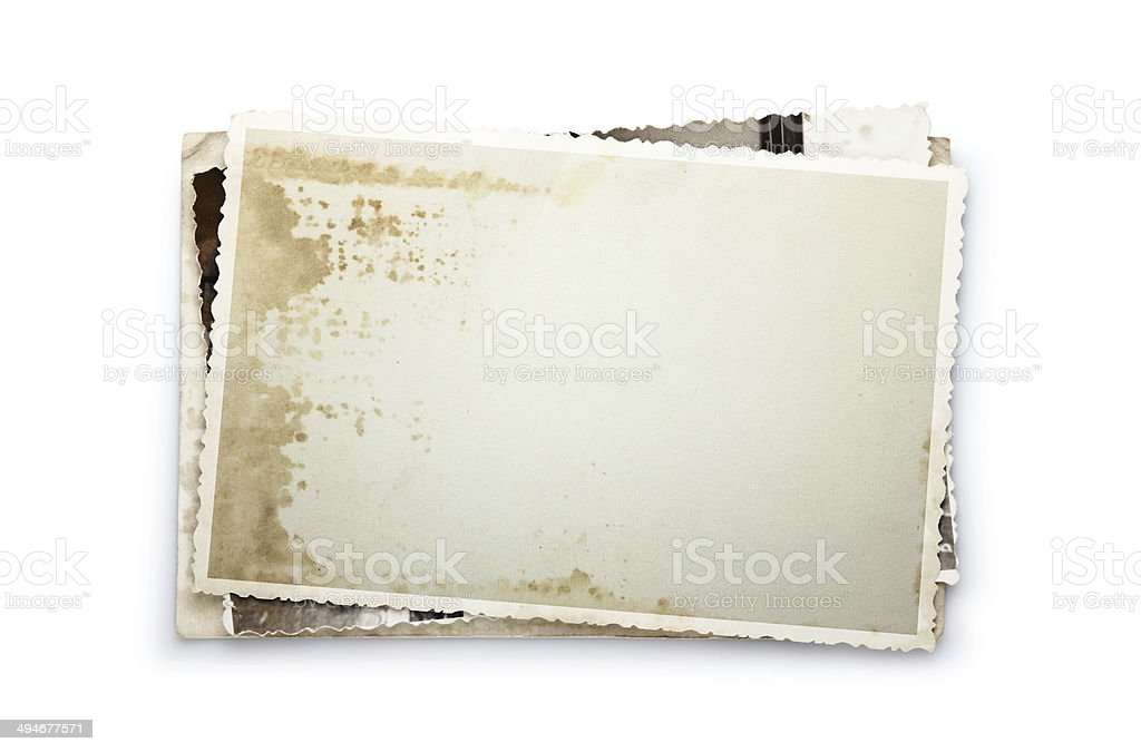 Stack of old photos with clipping path inside and outside stock photo