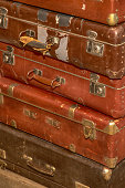 stack of old retro suitcases