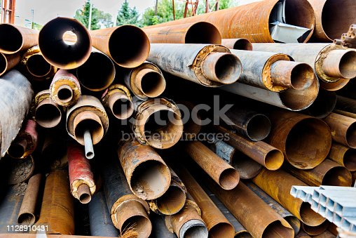 Stack of old steel pipes