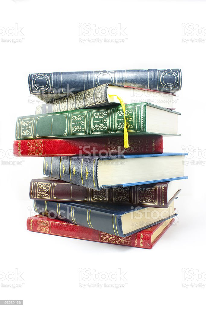 Stack of old style casebound books royalty-free stock photo