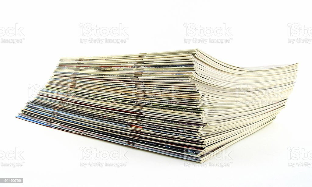 Stack of old thin magazines royalty-free stock photo